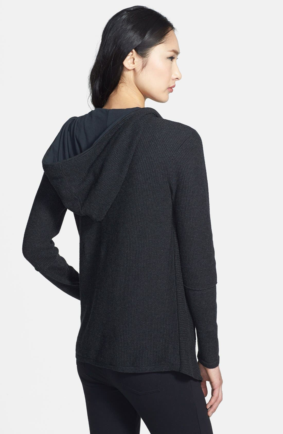 Alternate Image 2  - Eileen Fisher Drape Front Hooded Organic Cotton Cardigan