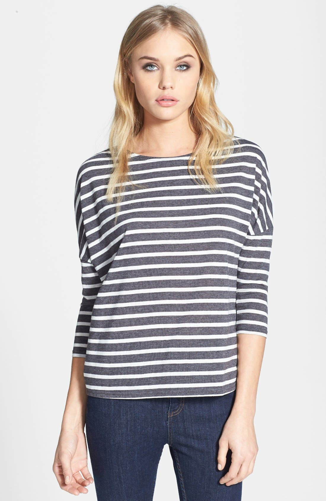 Alternate Image 1 Selected - Topshop Stripe Linen Tee
