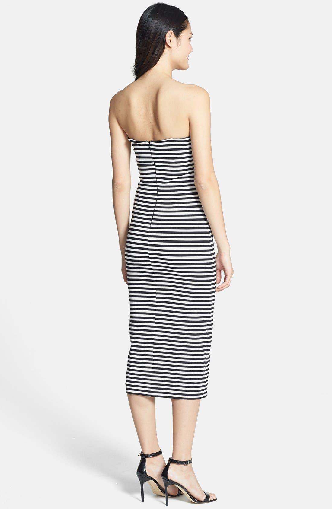 Alternate Image 2  - Nicole Miller Stripe Strapless Ponte Knit Body-Con Dress