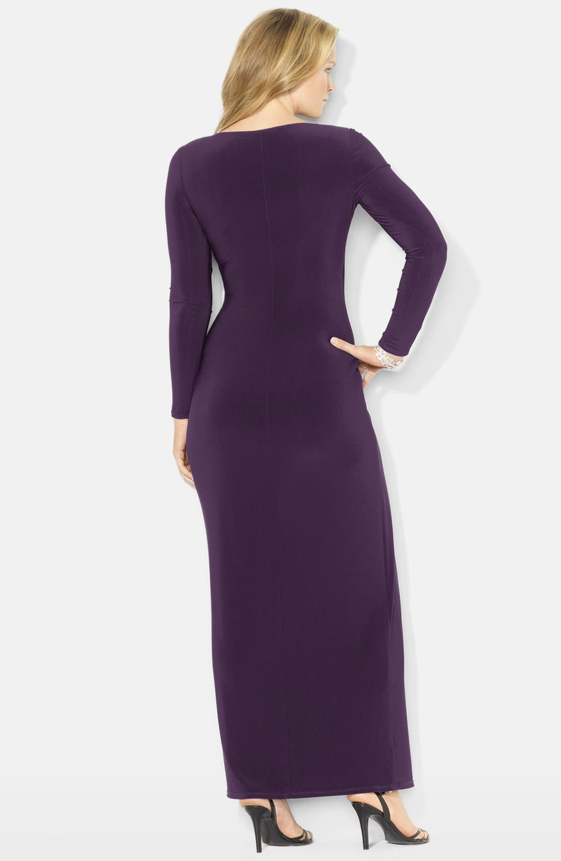 Alternate Image 2  - Lauren Ralph Lauren Side Ruffle Matte Jersey Gown (Plus Size)