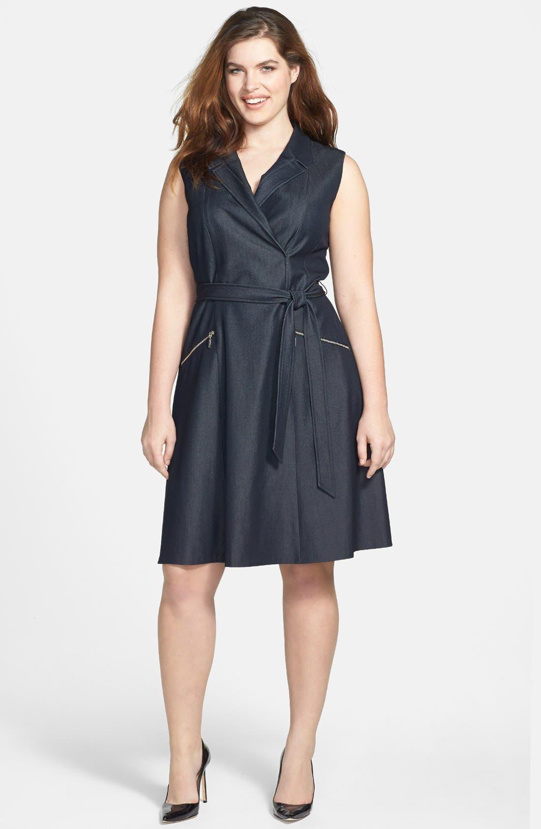 Alternate Image 1 Selected - Calvin Klein Sleeveless Tie Waist Shirtdress (Plus Size)