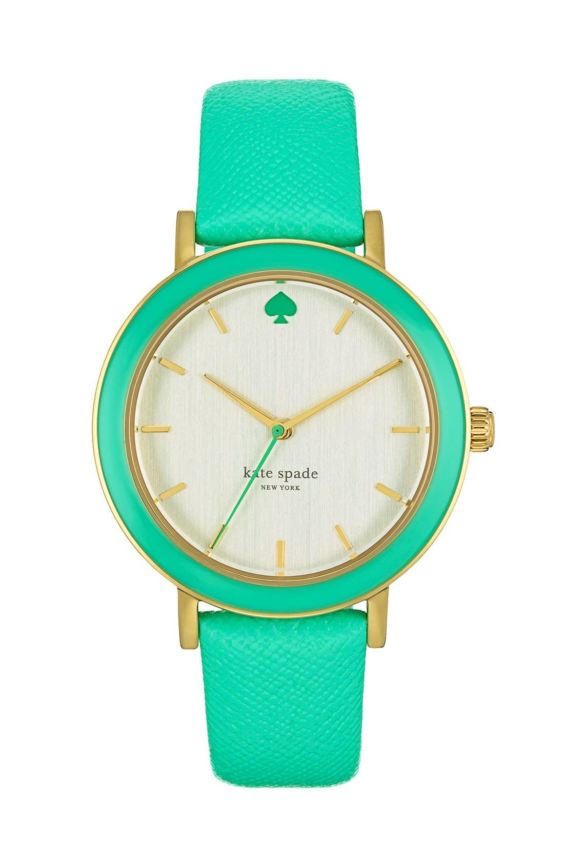 Alternate Image 1 Selected - kate spade new york 'metro' enamel bezel leather strap watch, 38mm