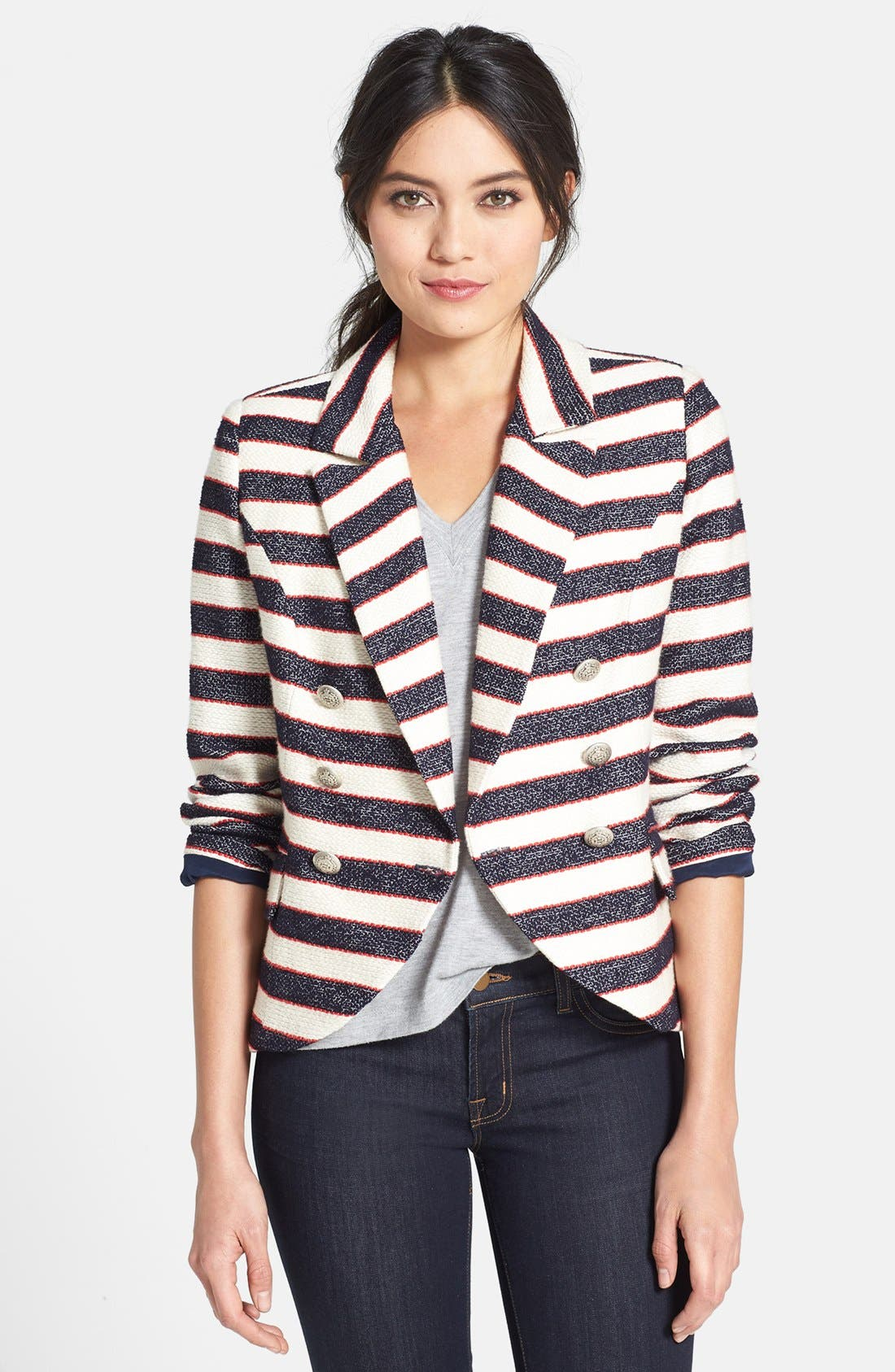 Alternate Image 1 Selected - Search for Sanity Double Breasted Stripe Blazer