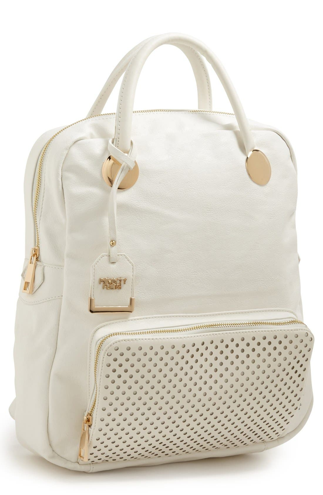 Alternate Image 1 Selected - POVERTY FLATS by rian Perforated Trim Faux Leather Backpack