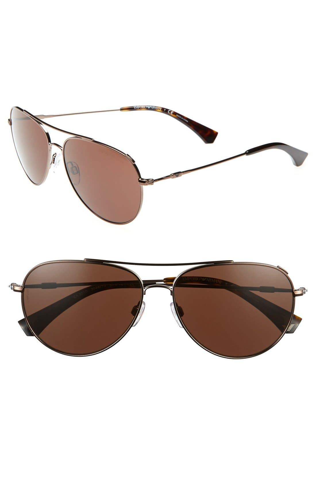 Main Image - Emporio Armani 57mm Aviator Sunglasses