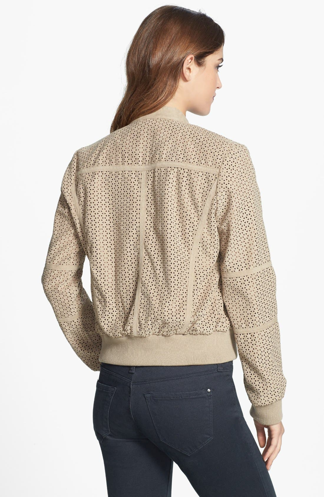 Alternate Image 2  - Kenneth Cole New York Perforated Faux Suede Bomber Jacket (Regular & Petite)