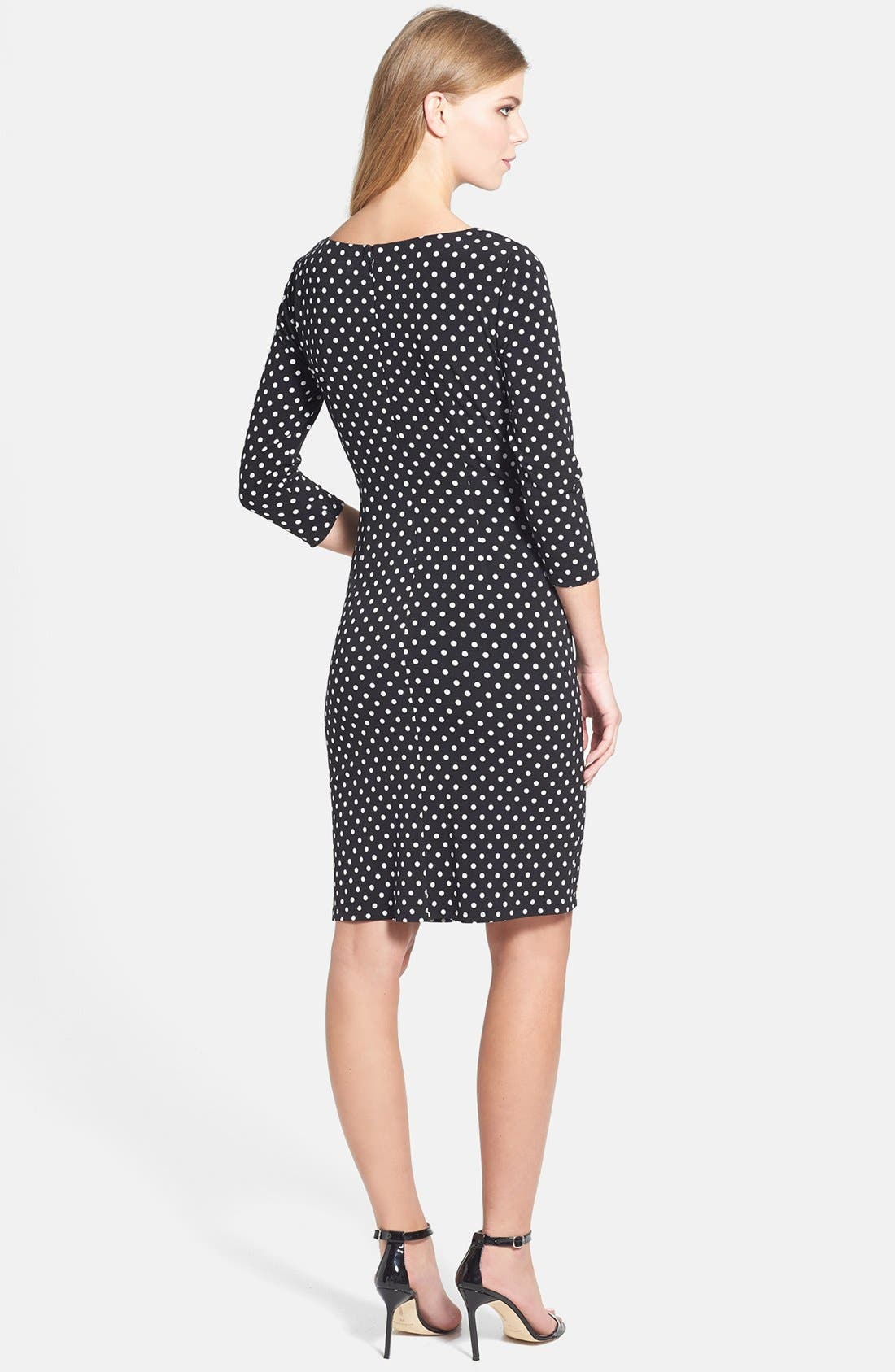 Alternate Image 3  - Adrianna Papell Polka Dot Ruched Jersey Dress