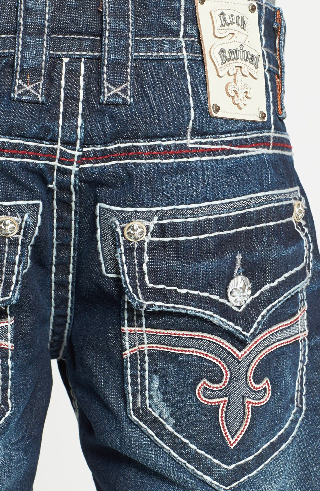 Alternate Image 4  - Rock Revival 'Grayson' Straight Leg Jeans (Dark Blue)