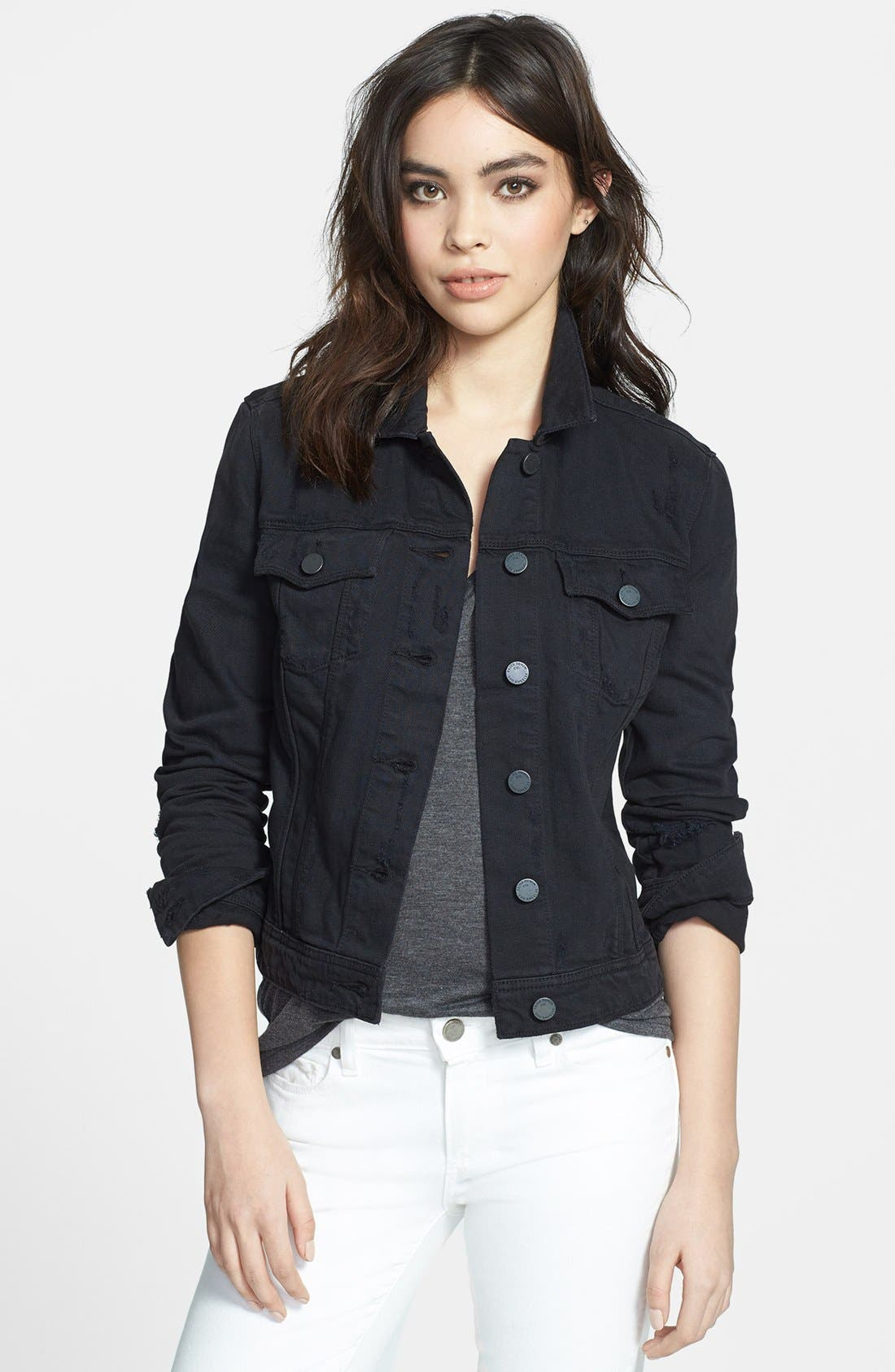 Main Image - Paige Denim 'Vermont' Distressed Denim Jacket (Vintage Black)