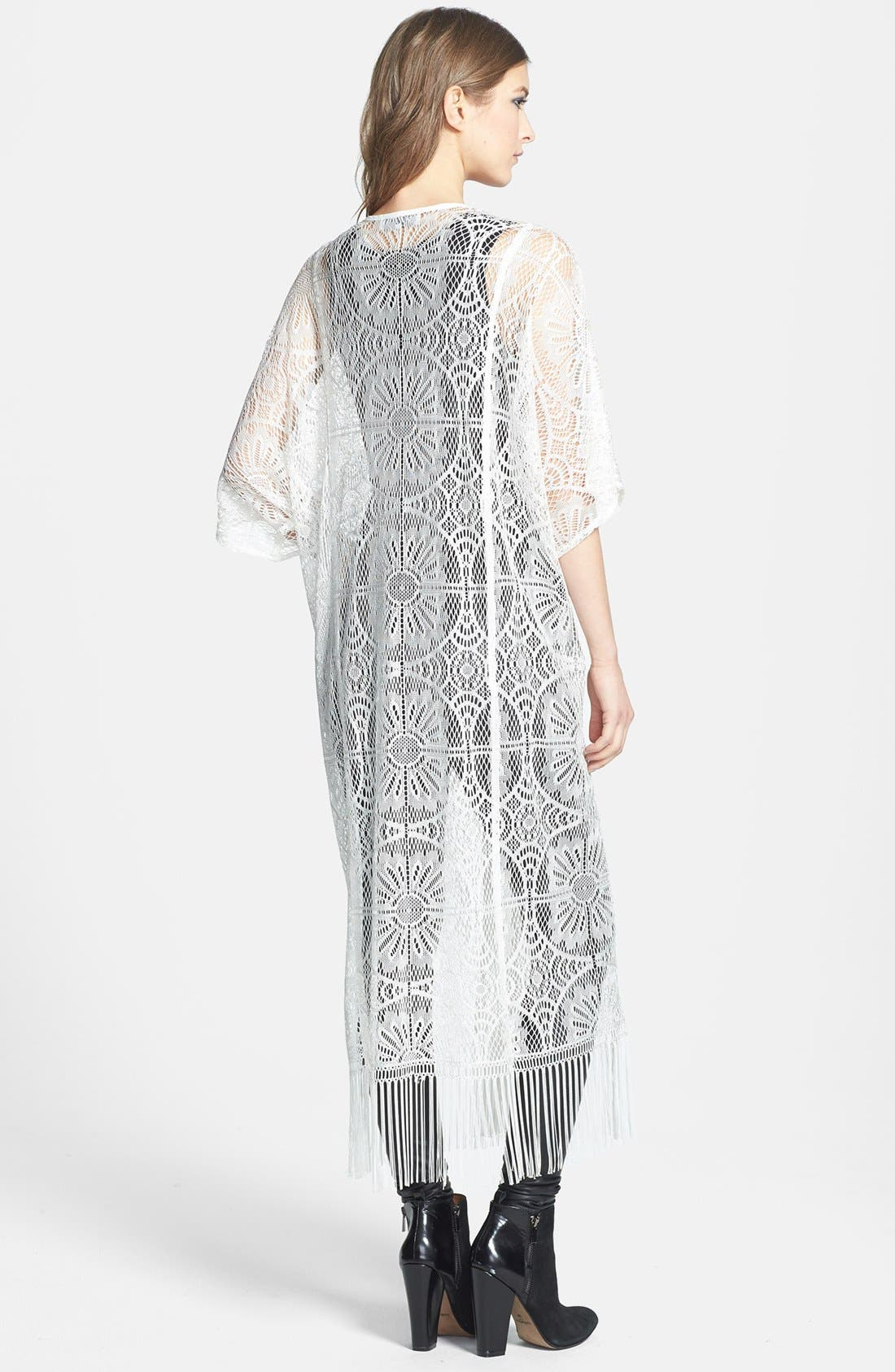 Alternate Image 2  - Wayf Long Lace Cardigan