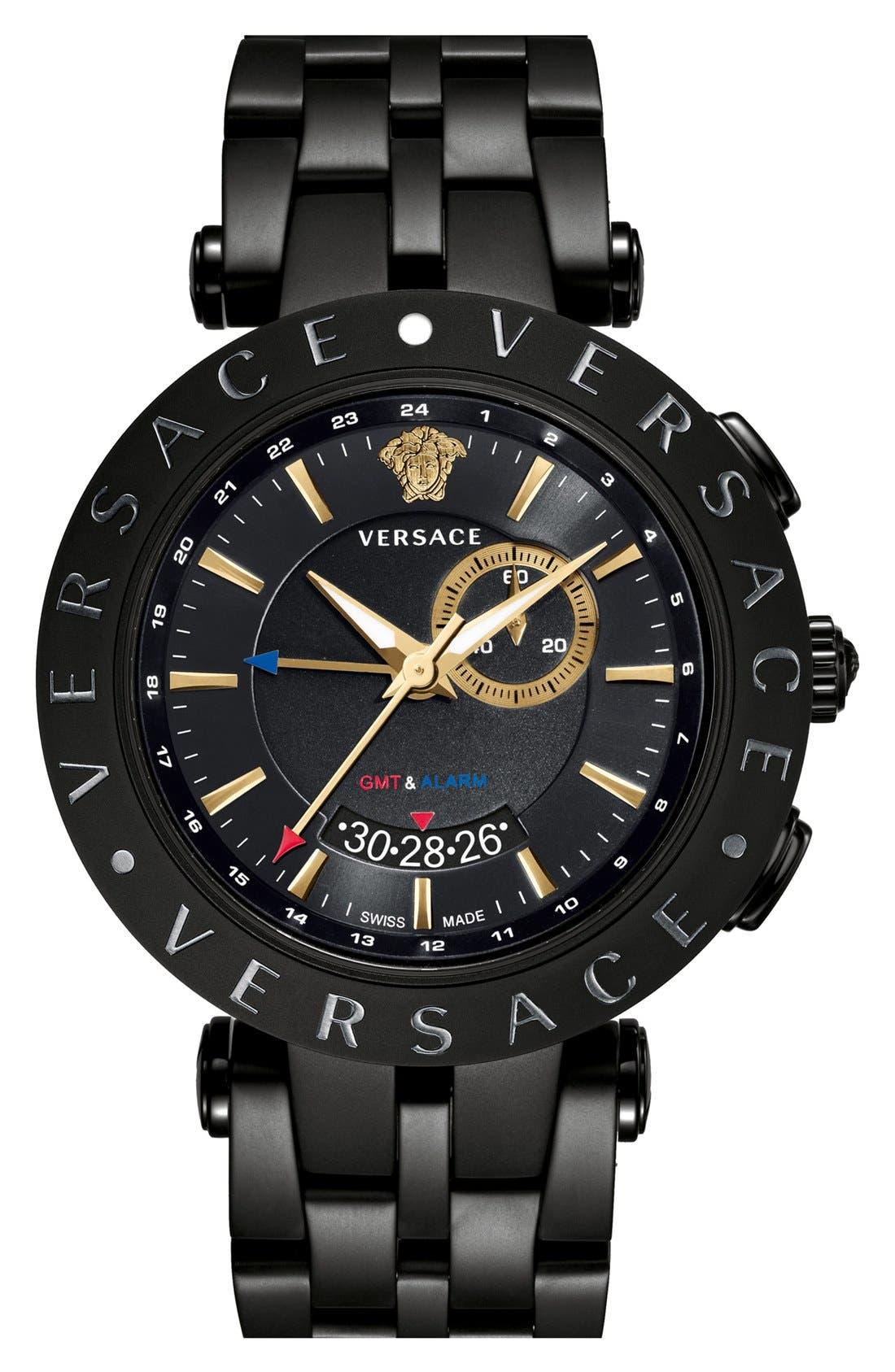 Alternate Image 1 Selected - Versace 'V-Race GMT' Bracelet Watch, 46mm