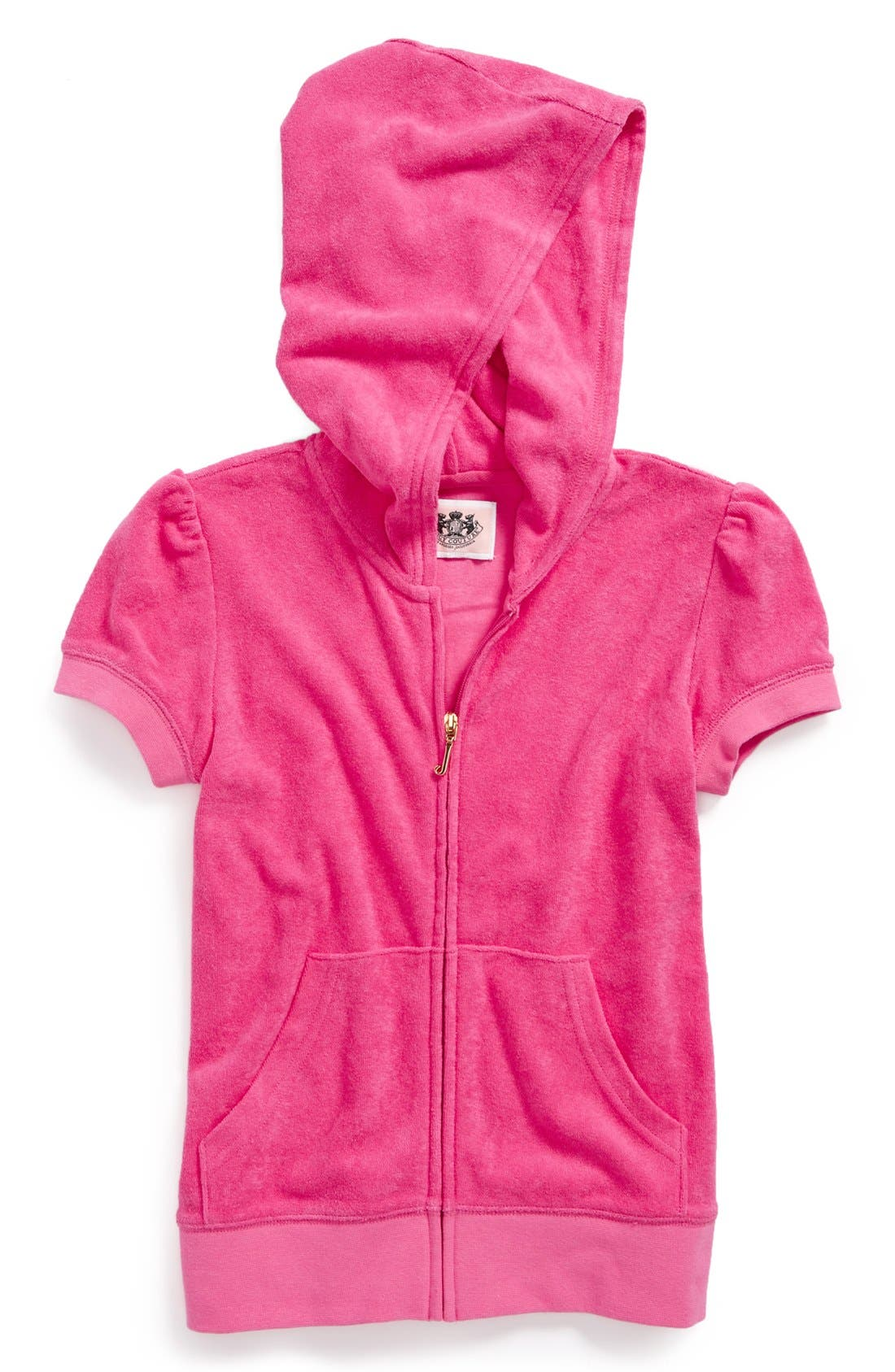 Alternate Image 1 Selected - Juicy Couture Short Sleeve Hoodie (Toddler Girls, Little Girls & Big Girls)
