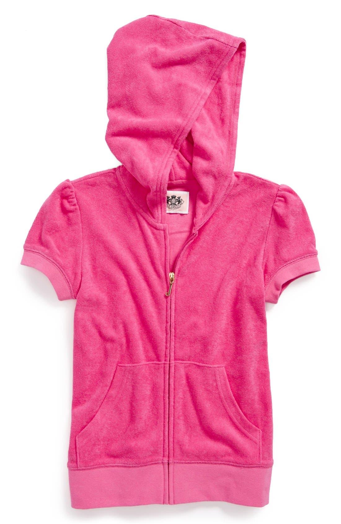 Main Image - Juicy Couture Short Sleeve Hoodie (Toddler Girls, Little Girls & Big Girls)