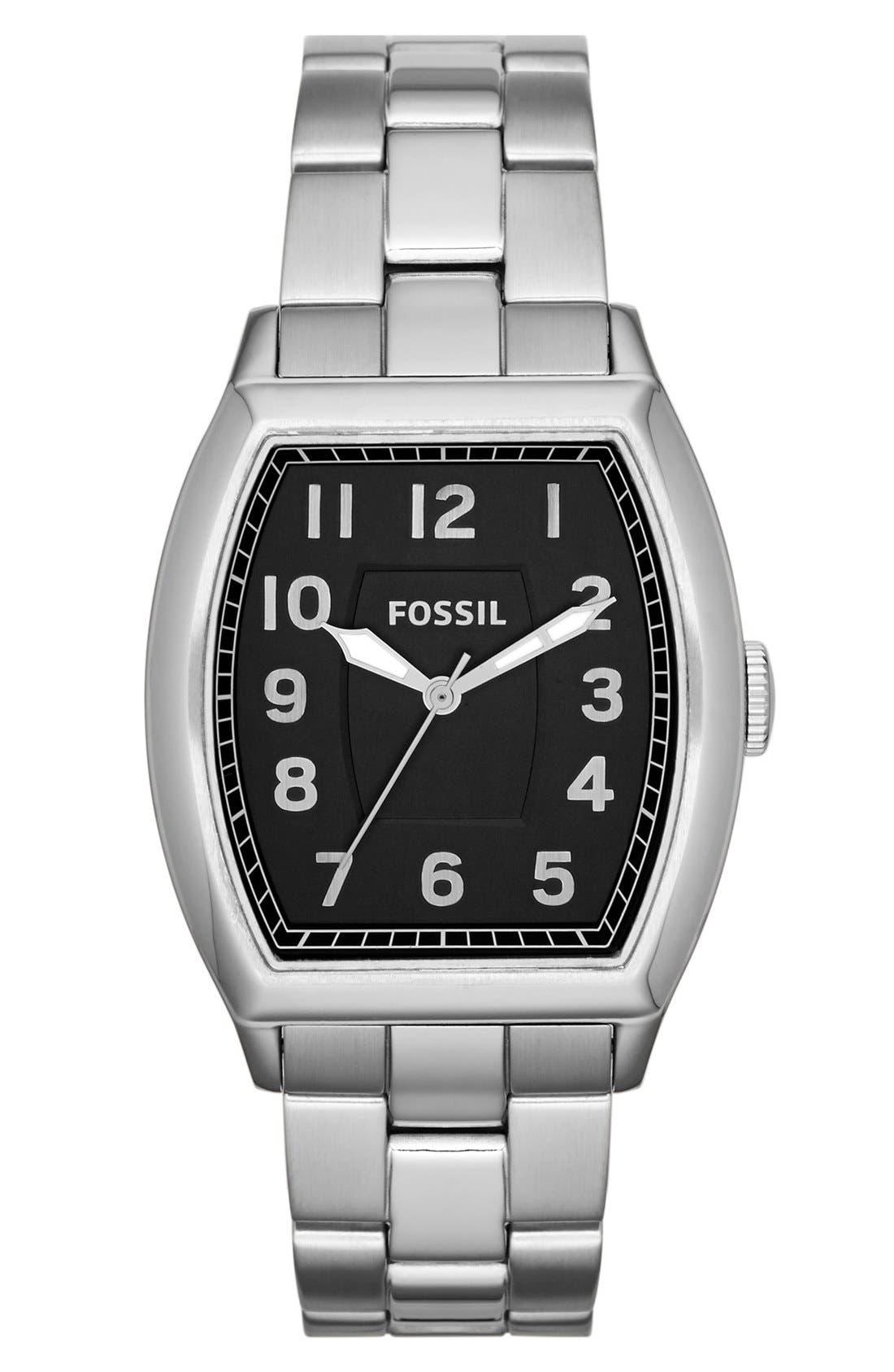 Main Image - Fossil 'Narrator' Barrel Case Bracelet Watch, 36mm x 39mm