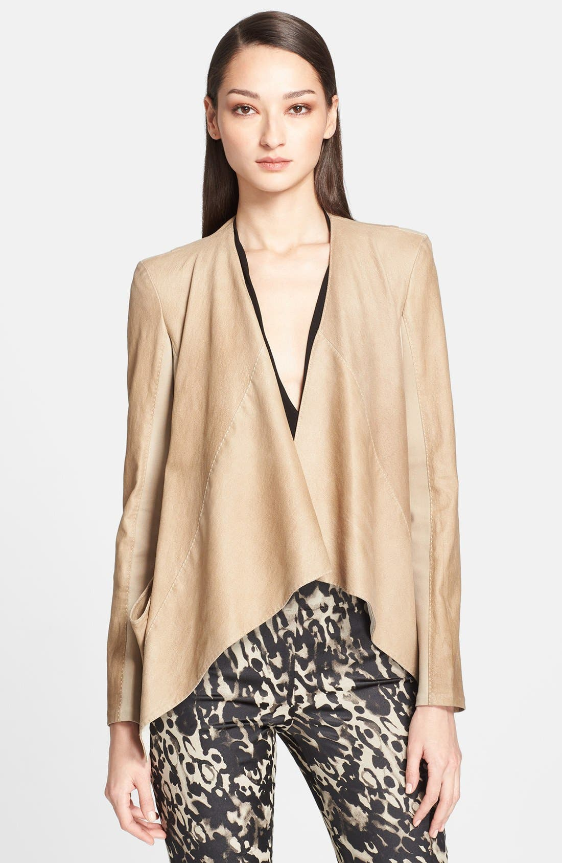 Alternate Image 1 Selected - Donna Karan New York Jersey Inset Leather Jacket