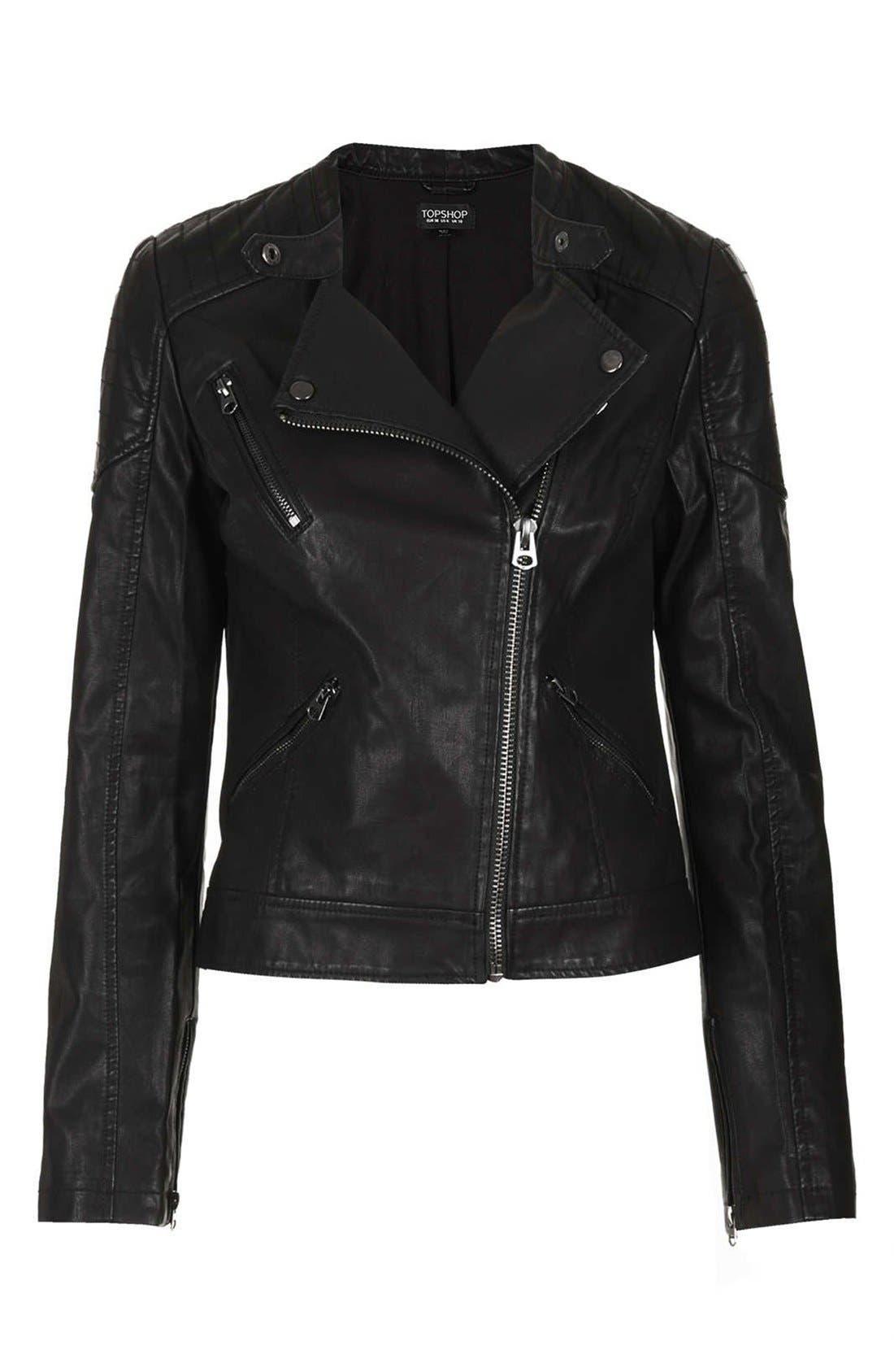 Alternate Image 3  - Topshop 'Cherrie' Faux Leather Biker Jacket