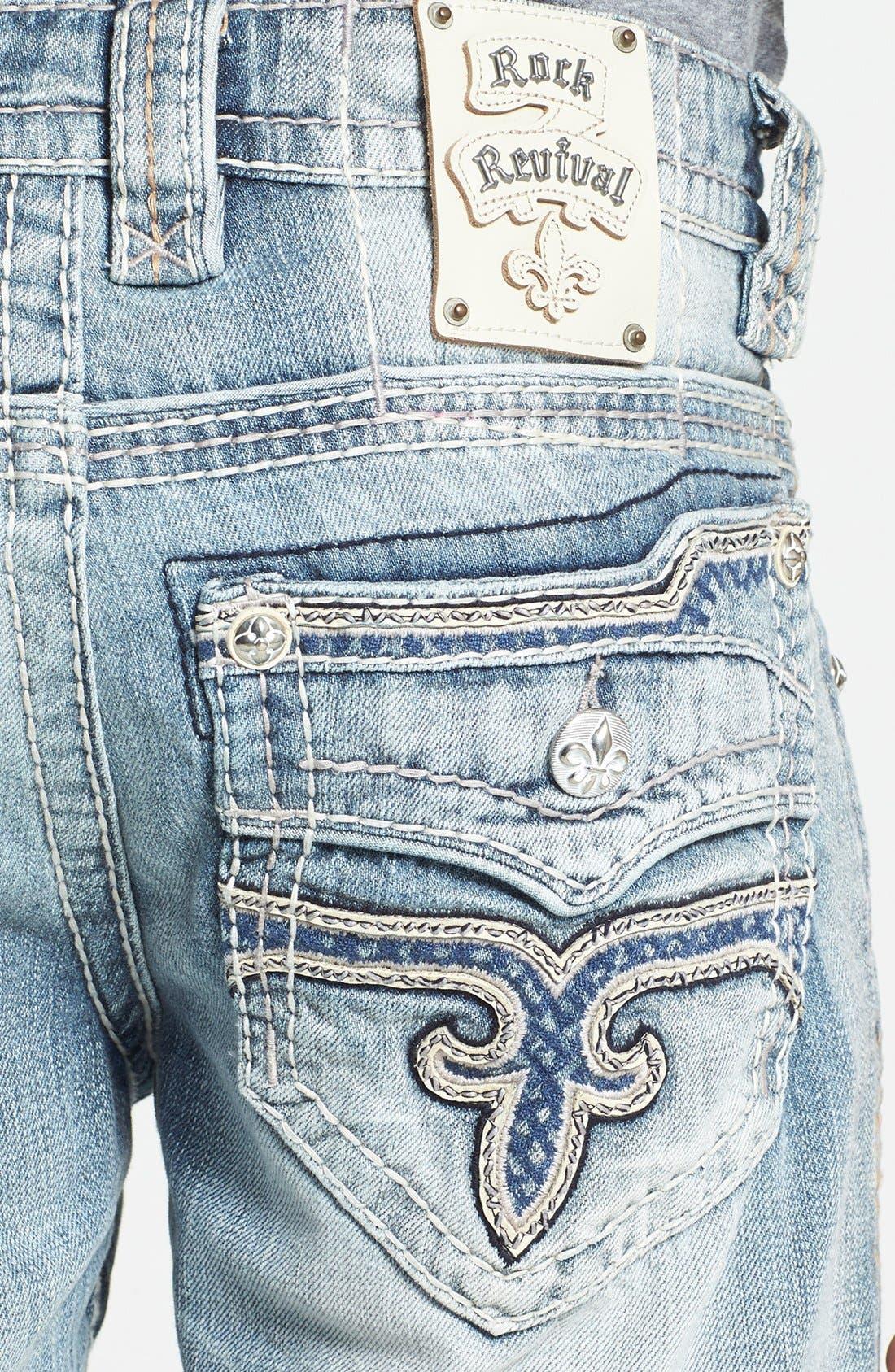 Alternate Image 4  - Rock Revival 'Romeo' Straight Leg Jeans (Light Blue)