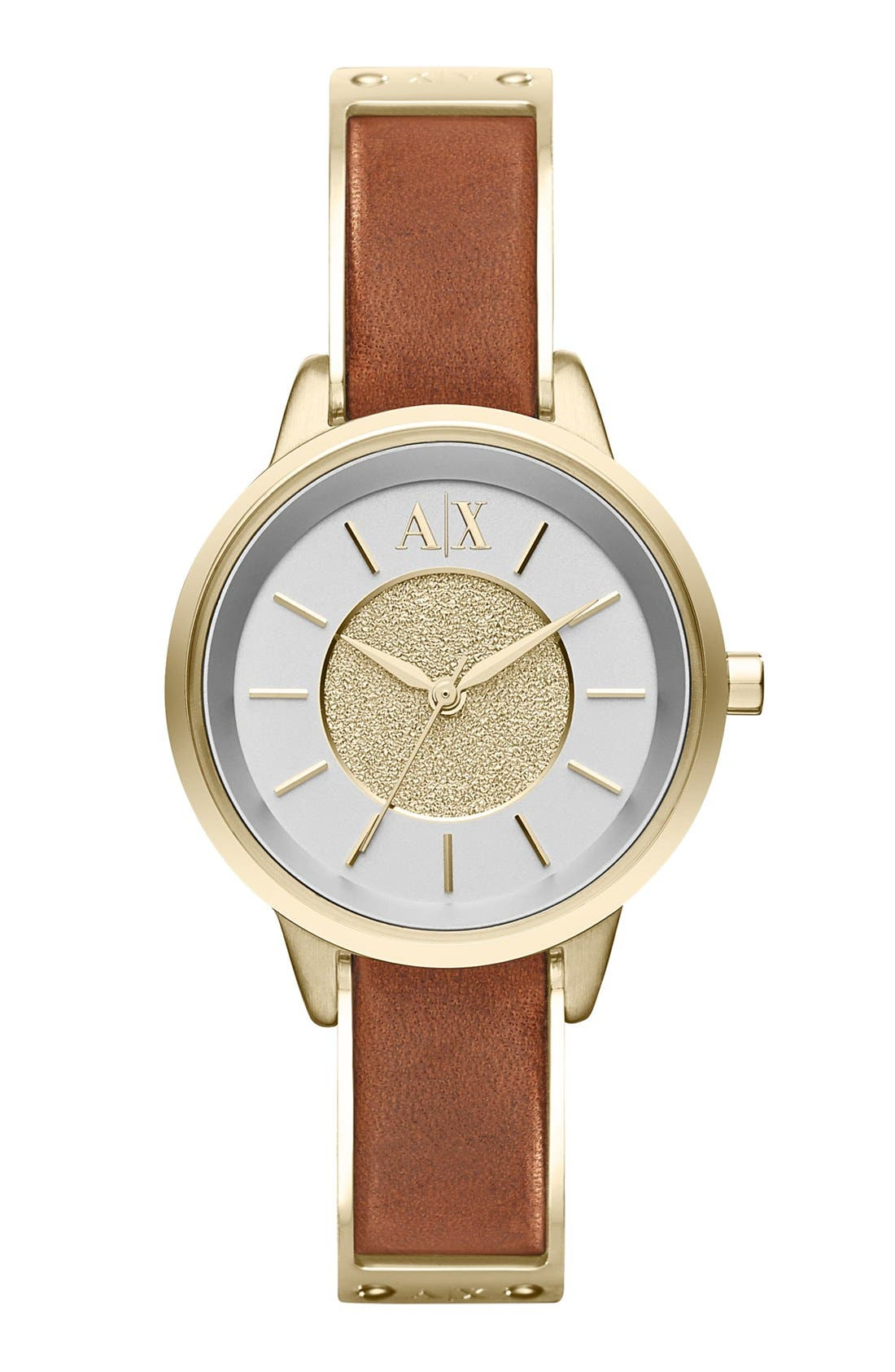 Main Image - AX Armani Exchange Round Leather Strap Watch, 30mm
