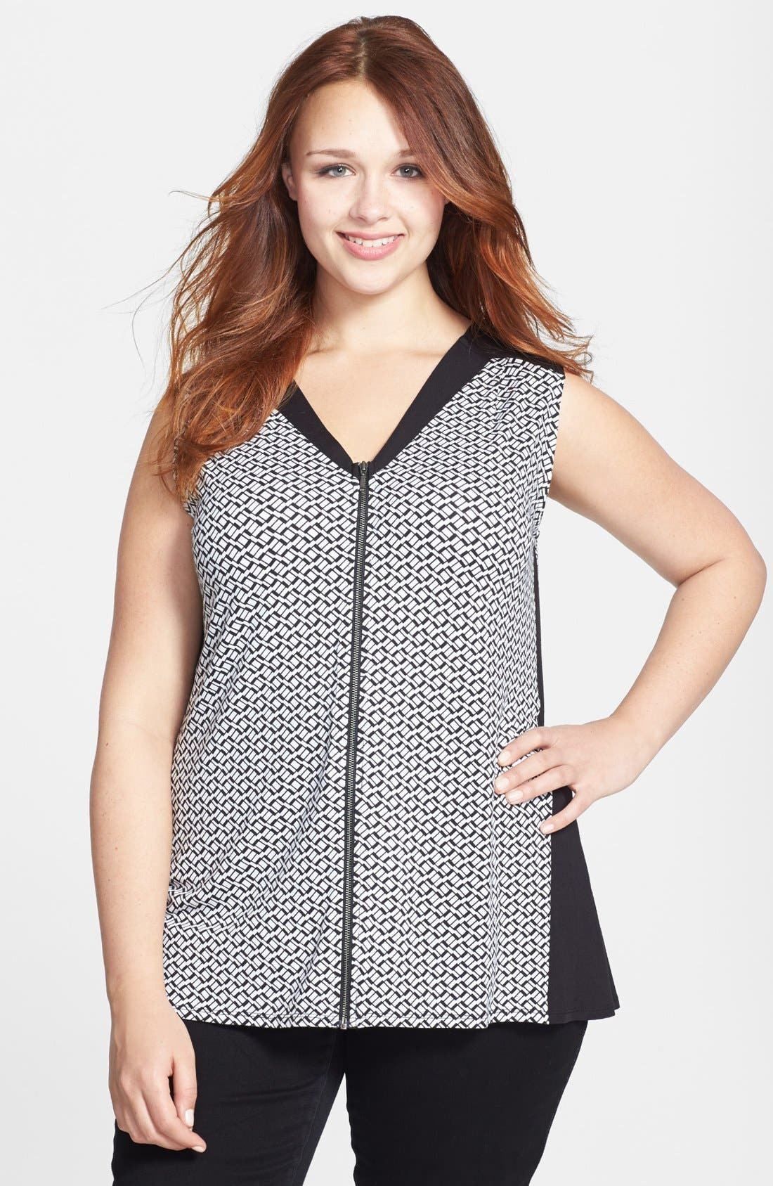 Alternate Image 1 Selected - Sejour 'Ess' Sleeveless Zip Front Top (Plus Size)