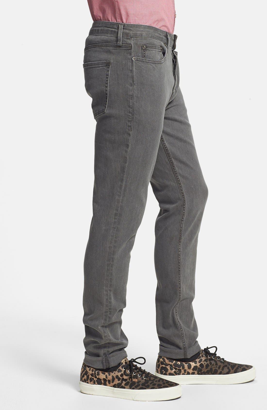 Alternate Image 3  - Topman Stretch Skinny Fit Stretch Jeans (Grey)