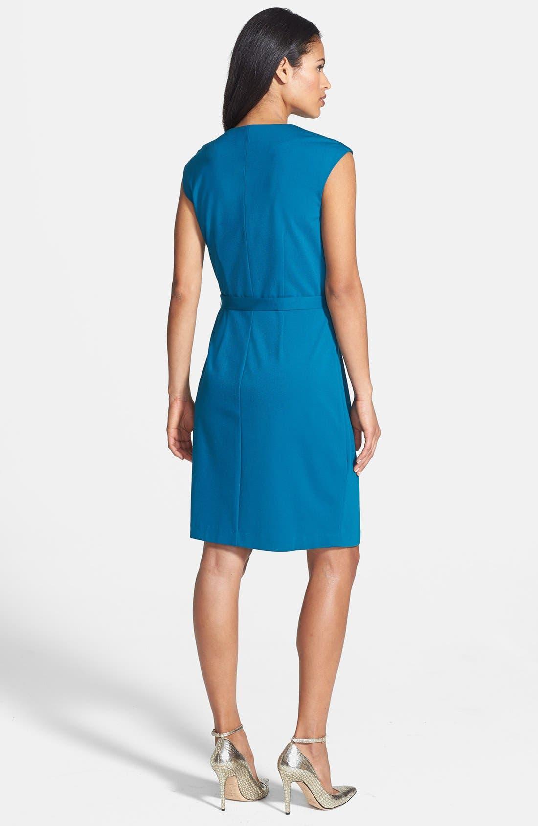 Alternate Image 2  - Adrianna Papell Cap Sleeve Dress with Buckle Belt