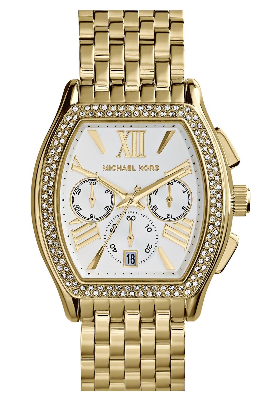Main Image - Michael Kors 'Amherst' Crystal Bezel Chronograph Bracelet Watch, 38mm
