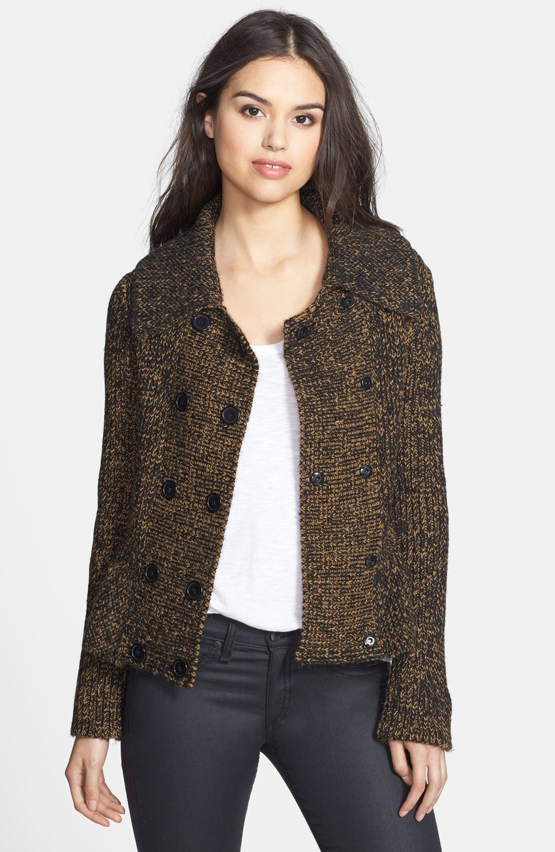 Main Image - Adrianna Papell Double Breasted Sweater Jacket