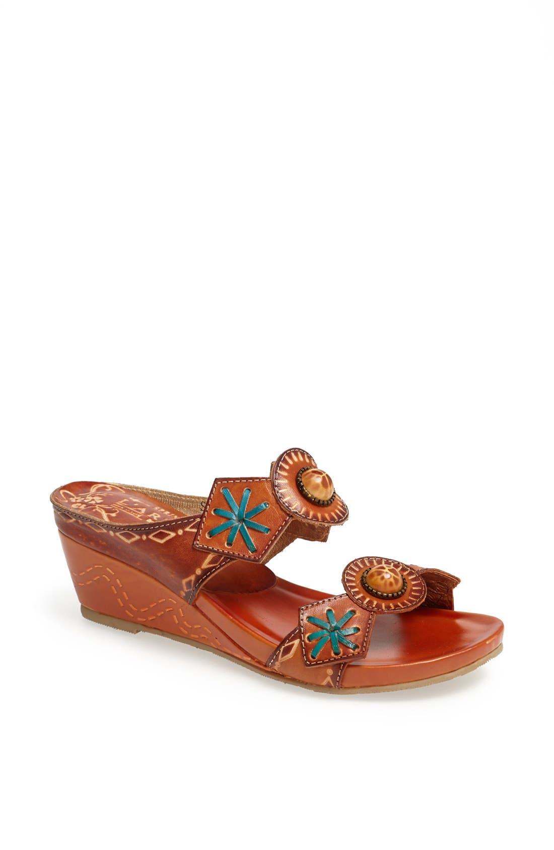 Alternate Image 1 Selected - Spring Step 'Sesame' Leather Wedge Sandal