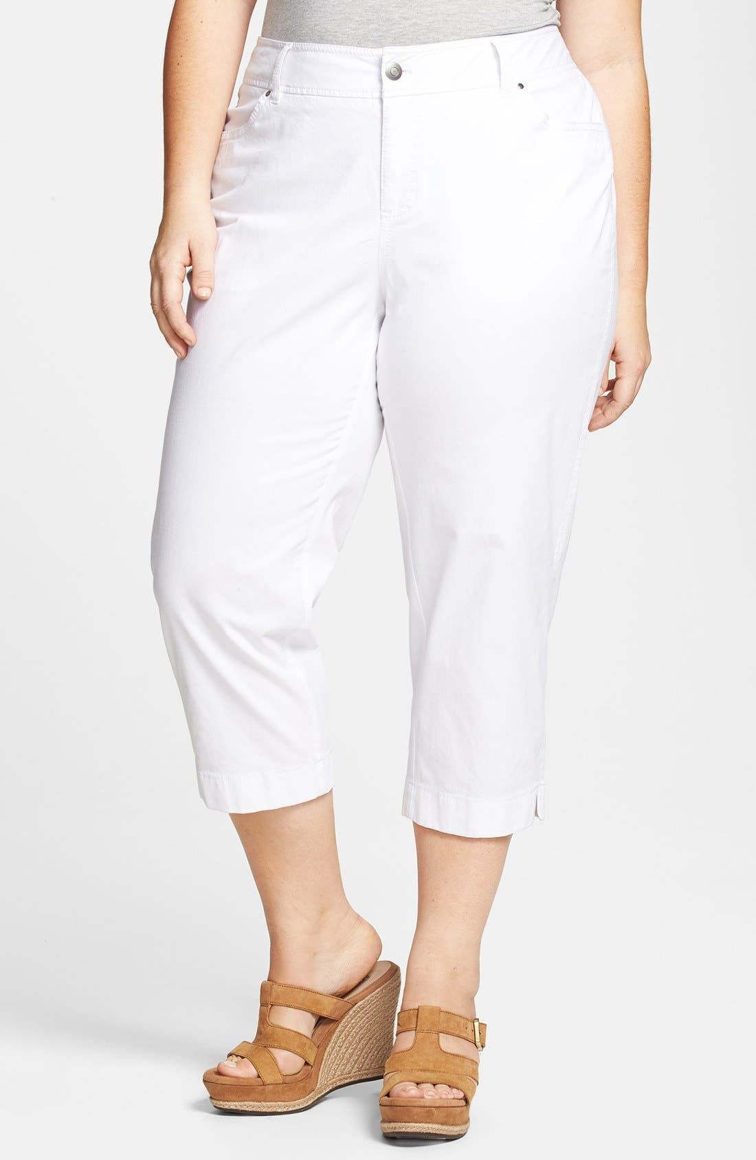 Alternate Image 1 Selected - Sejour 'Megan' Stretch Cotton Crop Pants (Plus Size)