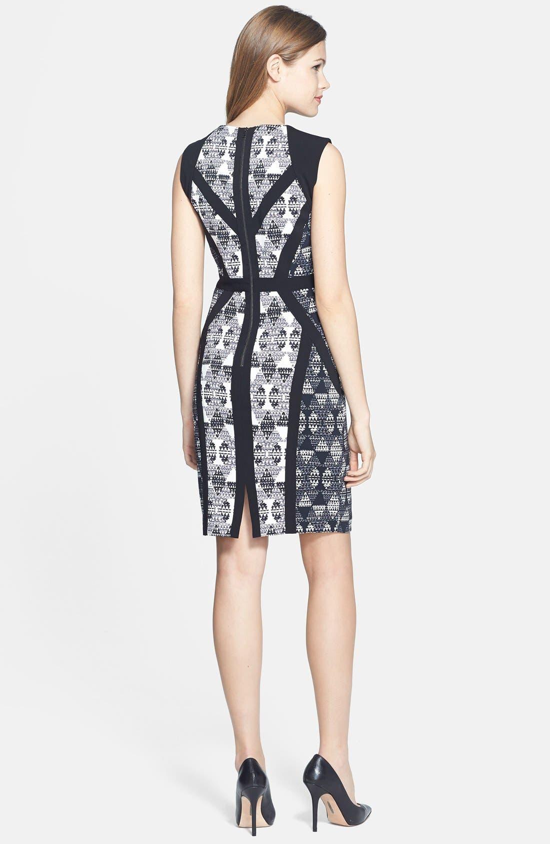 Alternate Image 2  - BCBGMAXAZRIA 'Holly' Print Stretch Crepe Sheath Dress