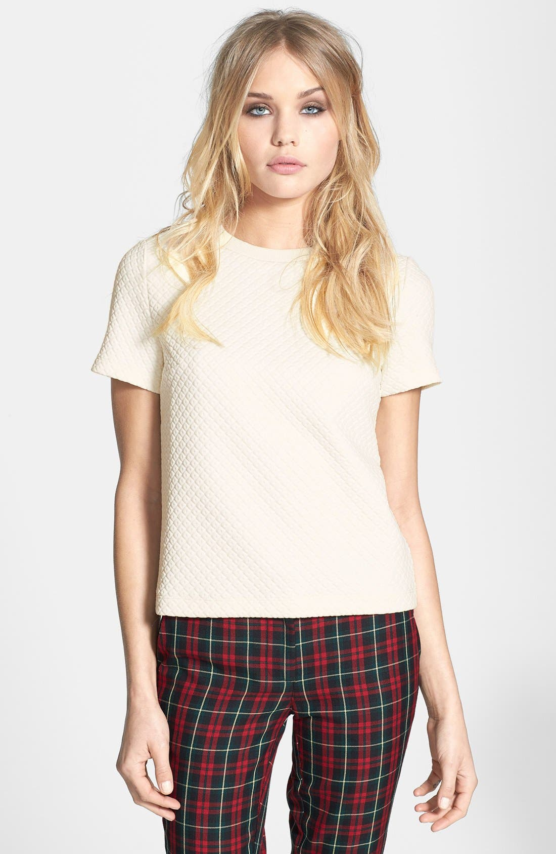 Alternate Image 1 Selected - Topshop Quilted Tee