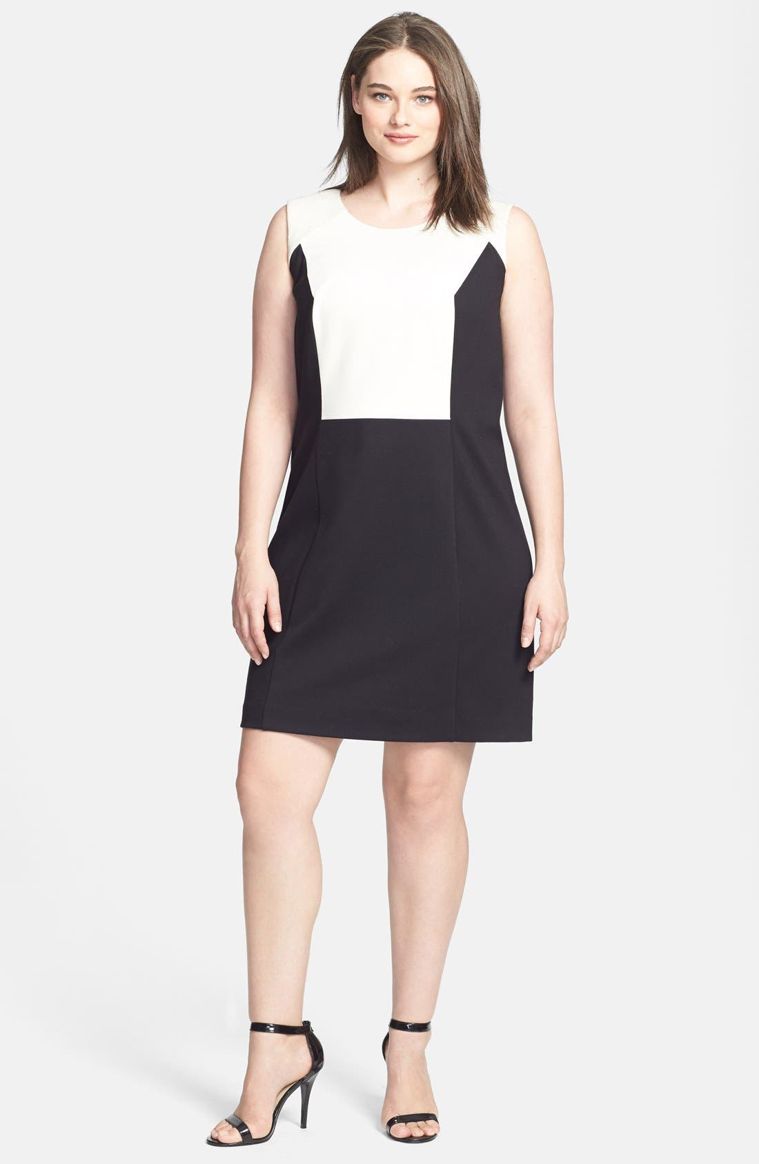 Alternate Image 1 Selected - DKNYC Sleeveless Colorblock Dress (Plus Size)