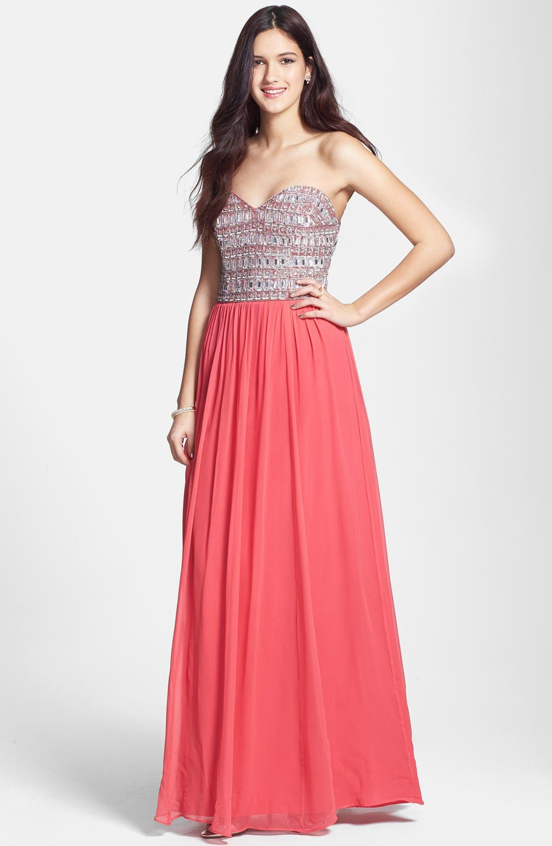 Main Image - Sean Collection Embellished Silk Georgette Strapless Gown