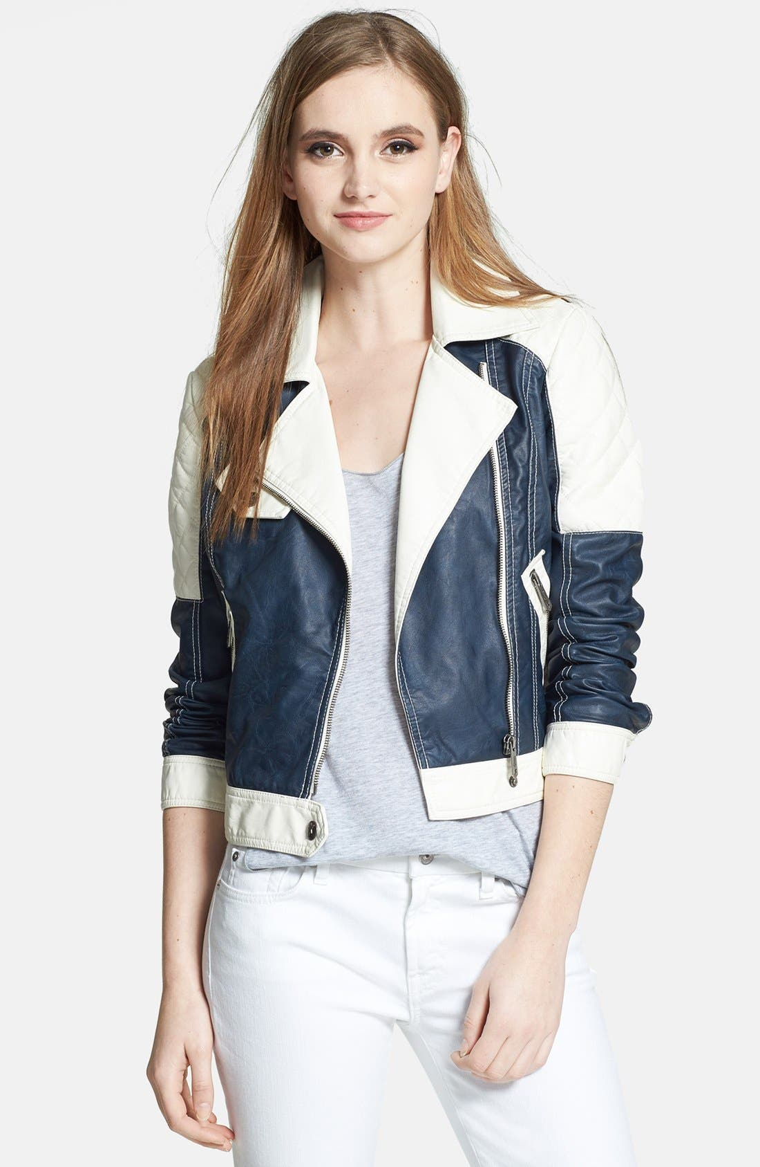 Main Image - Circus by Sam Edelman Colorblock Faux Leather Moto Jacket