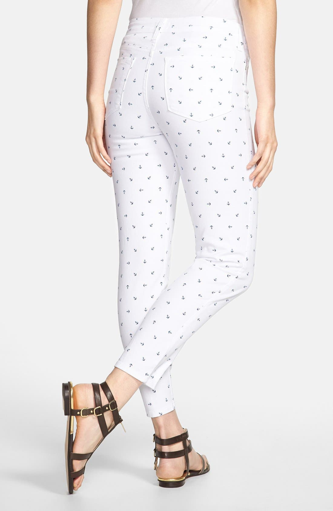 Alternate Image 2  - NYDJ 'Clarissa' Print Fitted Stretch Ankle Jeans (Optic White Anchors) (Regular & Petite)