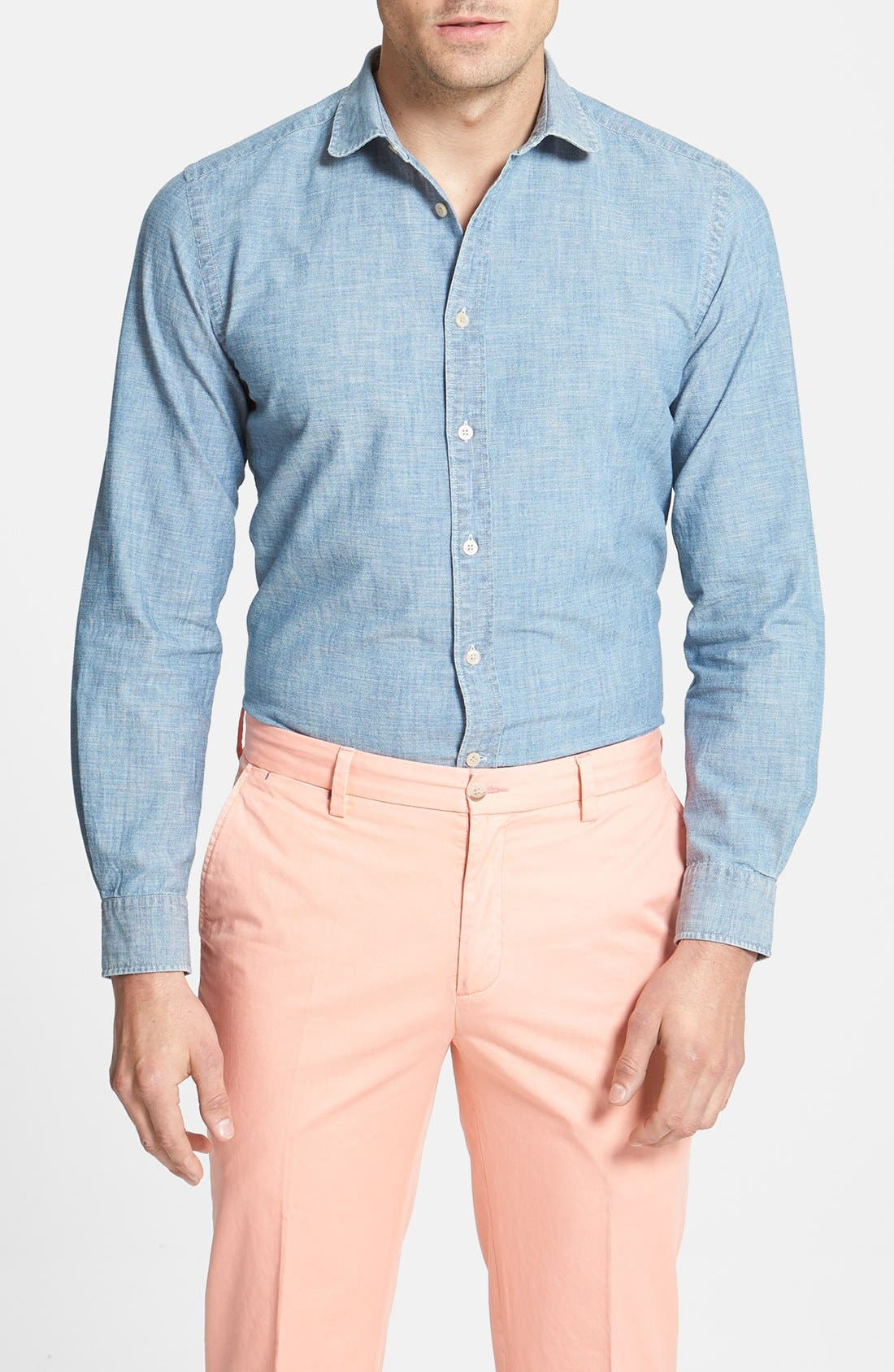 Alternate Image 1 Selected - Façonnable Slim Fit Chambray Sport Shirt