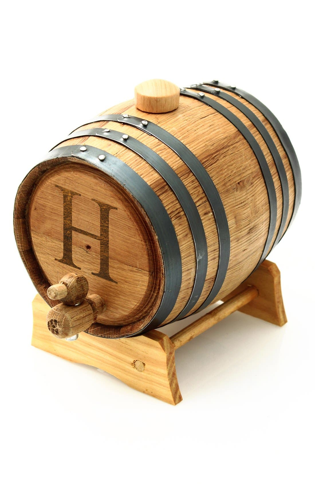 CATHY'S CONCEPTS Monogram Oak Whiskey Barrel, Small