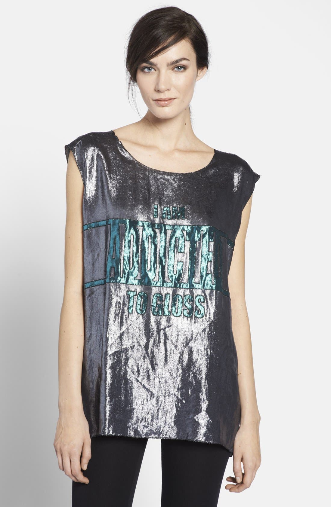 Alternate Image 1 Selected - Lanvin 'I Am Addicted to Gloss' Lamé Top