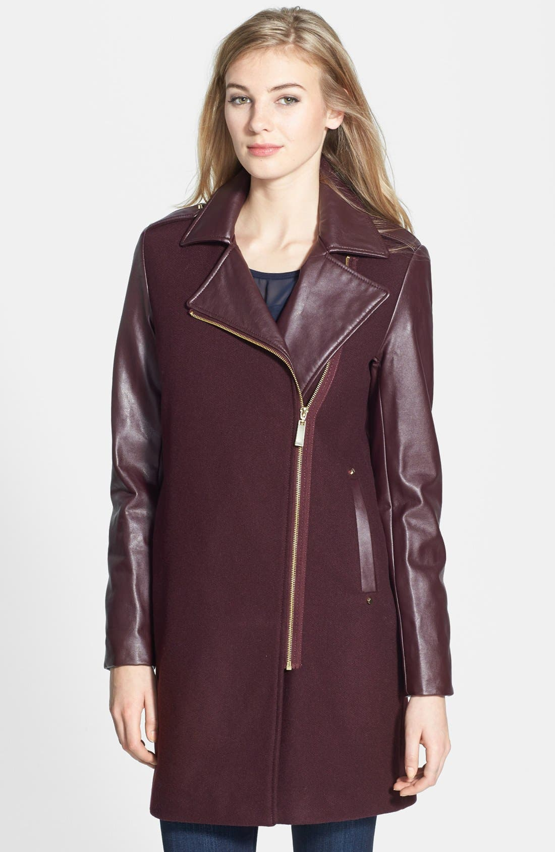 Main Image - Vince Camuto Asymmetrical Zip Wool Blend & Faux Leather Coat