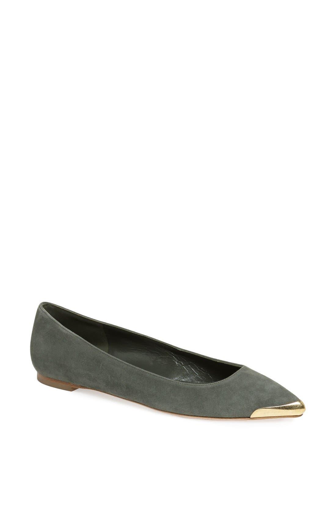 Alternate Image 1 Selected - Alexander McQueen Metal Toe Ballet Flat