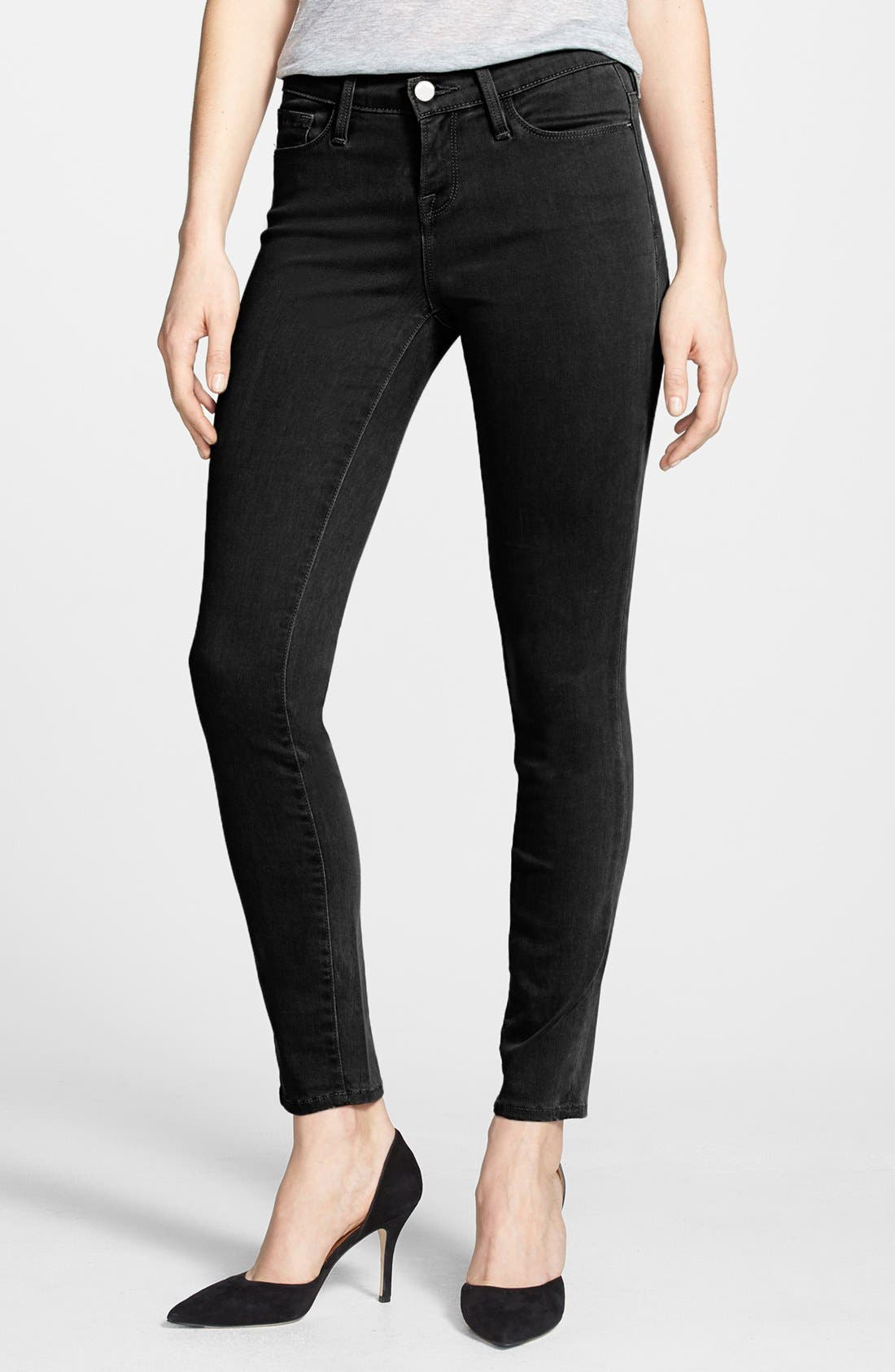 Alternate Image 3  - Frame Denim 'Le Luxe Noir' Skinny Jeans (Vian)