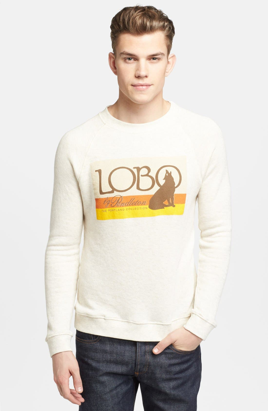 Alternate Image 1 Selected - Pendleton Portland Collection 'Lobo Logo' Graphic Crewneck Sweatshirt