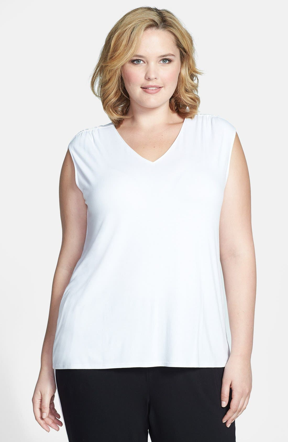 Alternate Image 1 Selected - Sejour Cap Sleeve Knit Top (Plus Size)