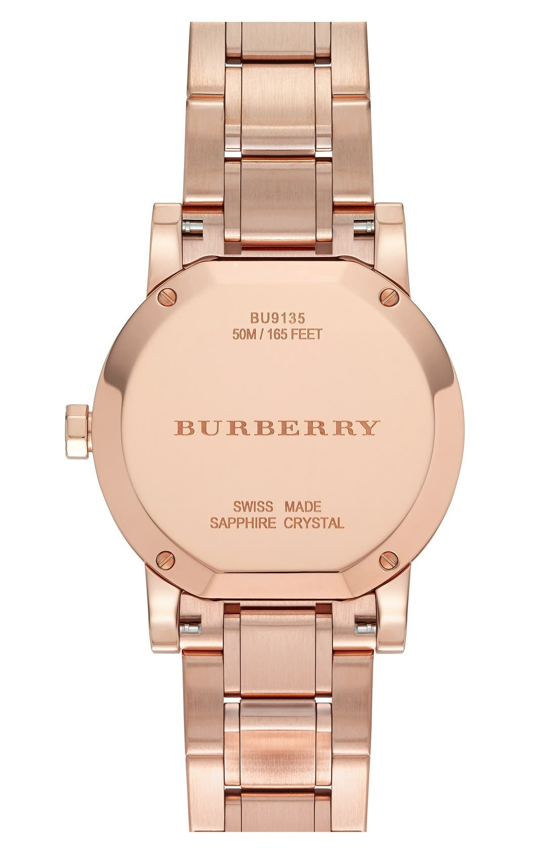 Alternate Image 3  - Burberry Check Stamped Round Bracelet Watch, 34mm