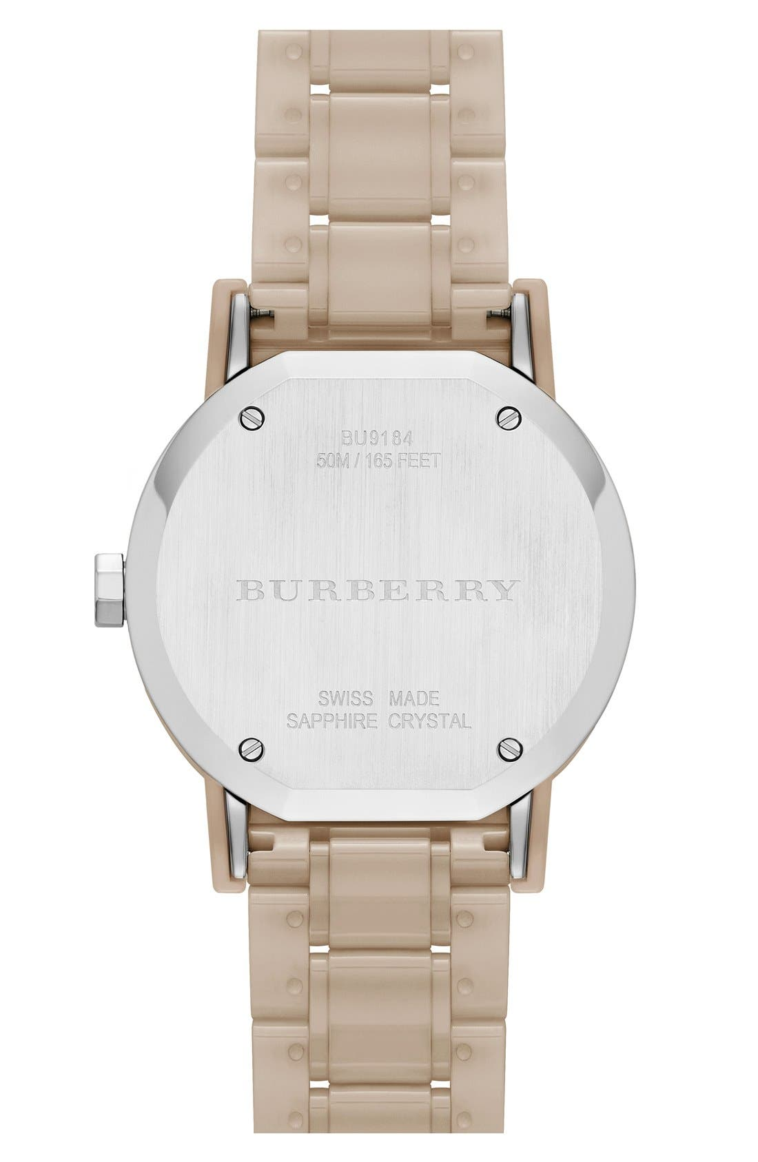 Alternate Image 3  - Burberry Check Dial Ceramic Bracelet Watch, 34mm