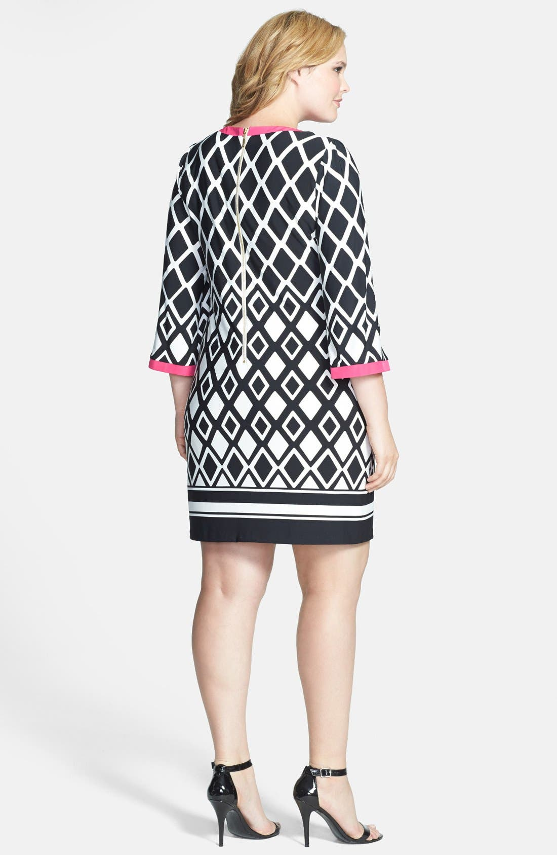 Alternate Image 2  - Eliza J Print Jersey Shirtdress (Plus Size)