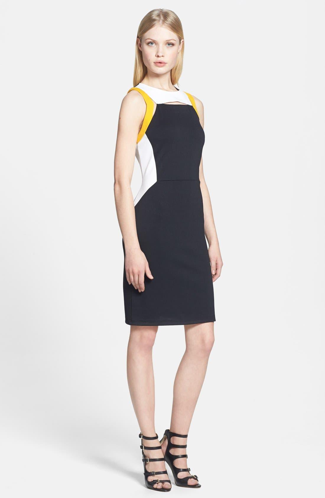 Main Image - Trouvé Cutout Ponte Knit Sheath Dress