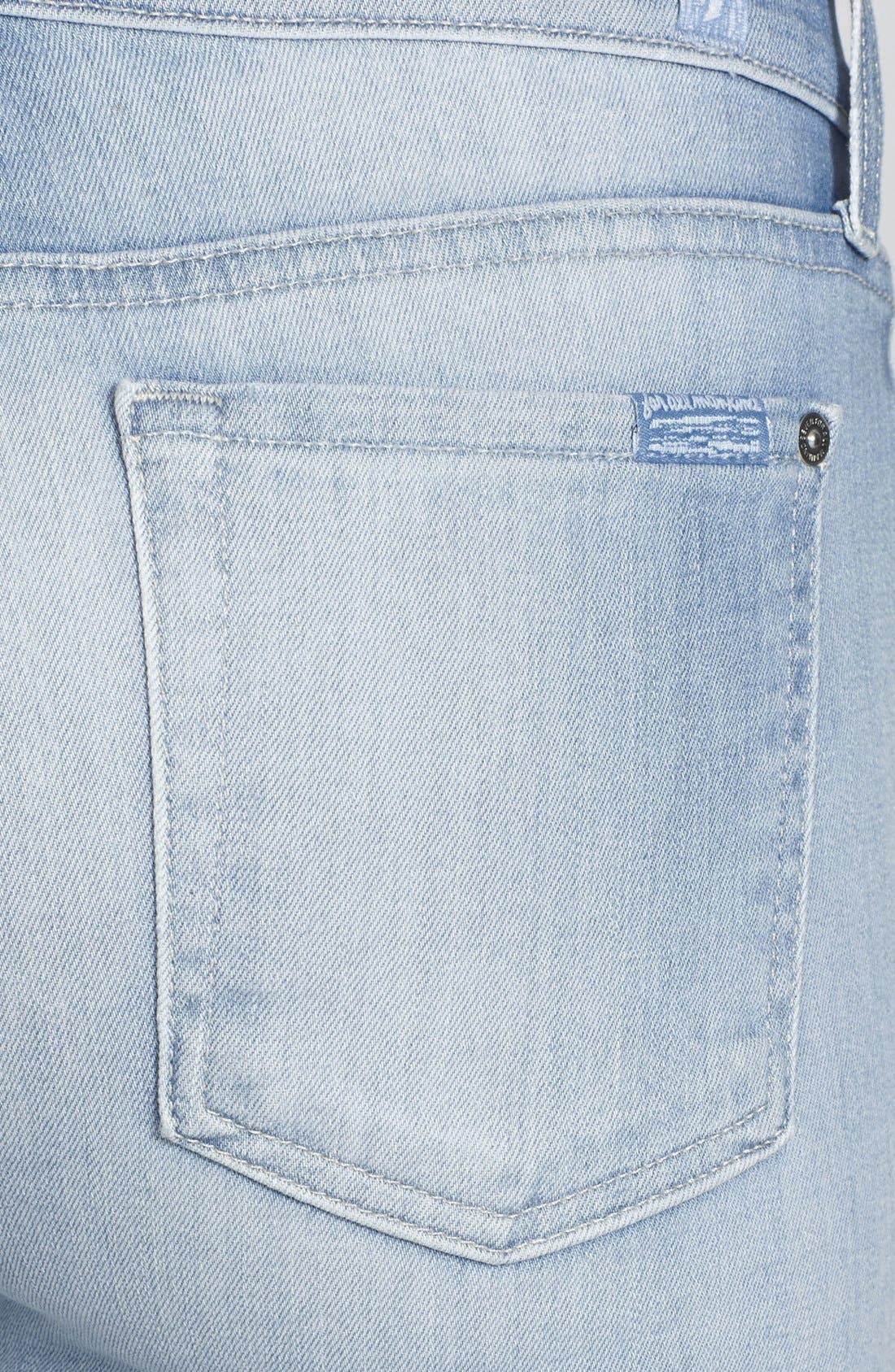 Alternate Image 3  - 7 For All Mankind® 'The Skinny' Mid Rise Jeans (Sky Blue)