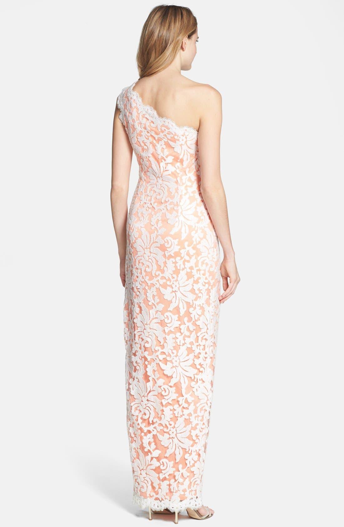 Alternate Image 2  - Tadashi Shoji Lace One-Shoulder Gown