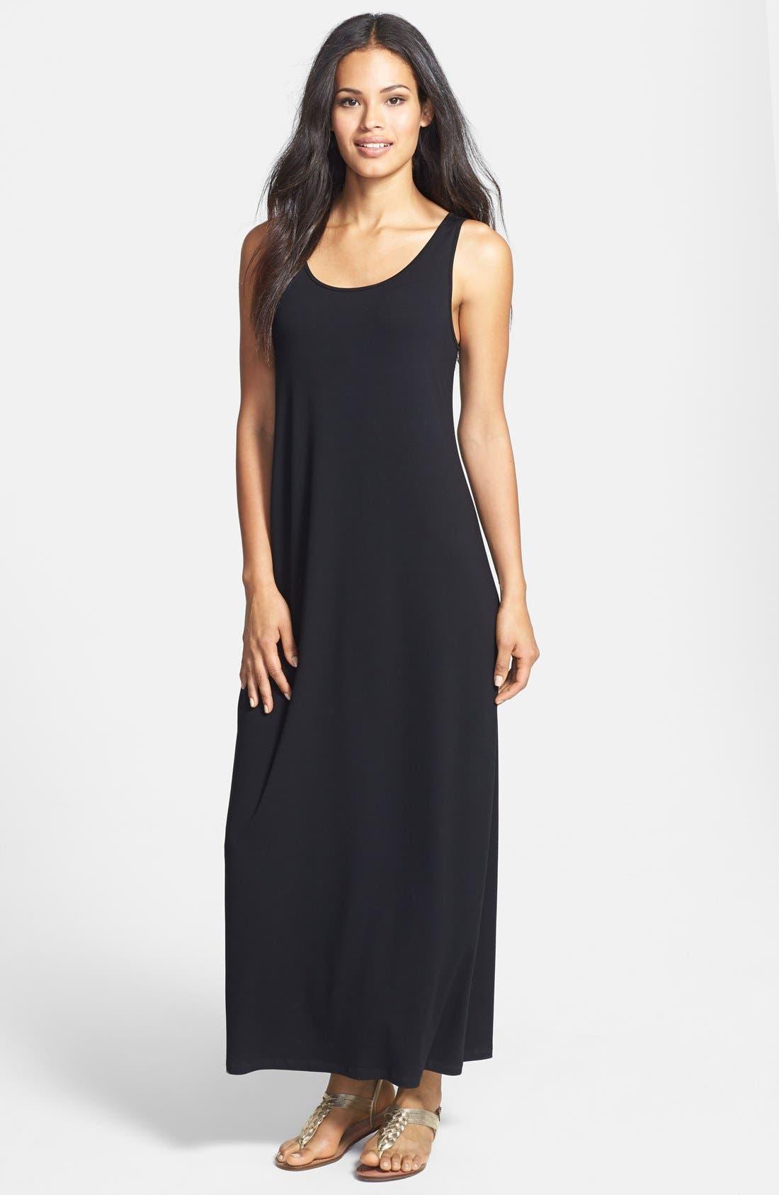 Main Image - Eileen Fisher Scoop Neck Jersey Dress (Petite)